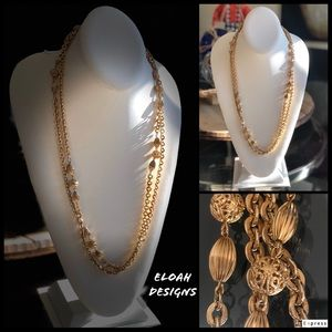 Jewelry - Vintage gold tone statement necklace